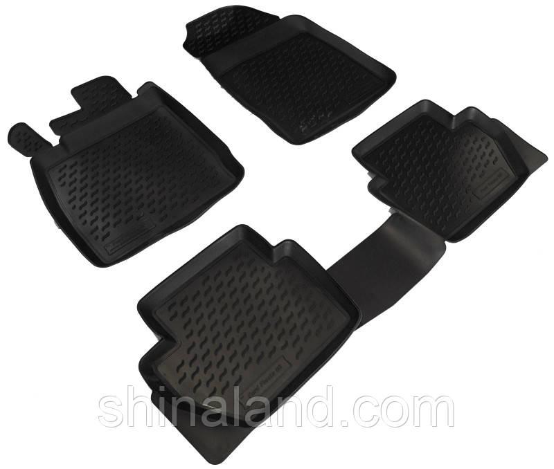 Коврики в салон Ford Fiesta VI 2008 - черные, полиуретановые (Петропласт) - комплект (4 шт.) + перемычка