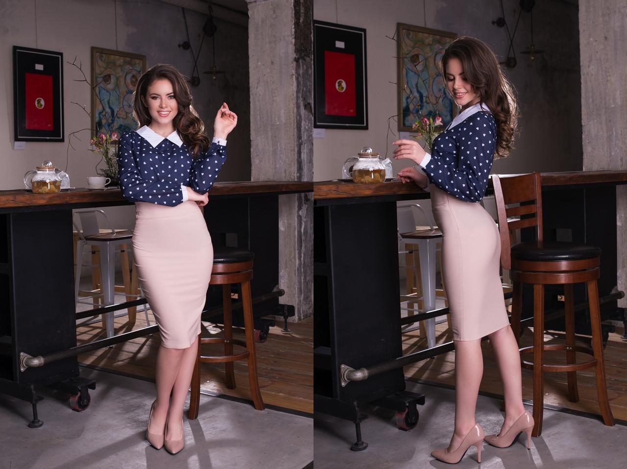 """Женская шифоновая блуза узор """"Liper"""" с воротничком и длинным рукавом (4 цвета)"""