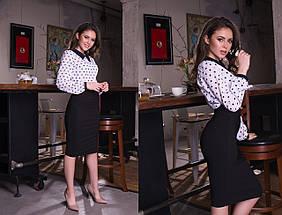 """Женская шифоновая блуза узор """"Liper"""" с воротничком и длинным рукавом (4 цвета), фото 3"""