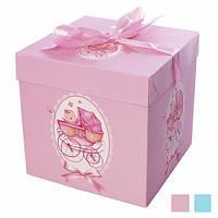 """Коробочка подарочная картонная """"Коляска"""" N00376, размер 15*15*15см, разные цвета, коробка для подарков, подарочная коробка, коробочки"""