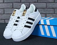 Кроссовки женские натуральная кожа белые черные полоски весенние Adidas Superstar Bold Адидас Суперстар Болд