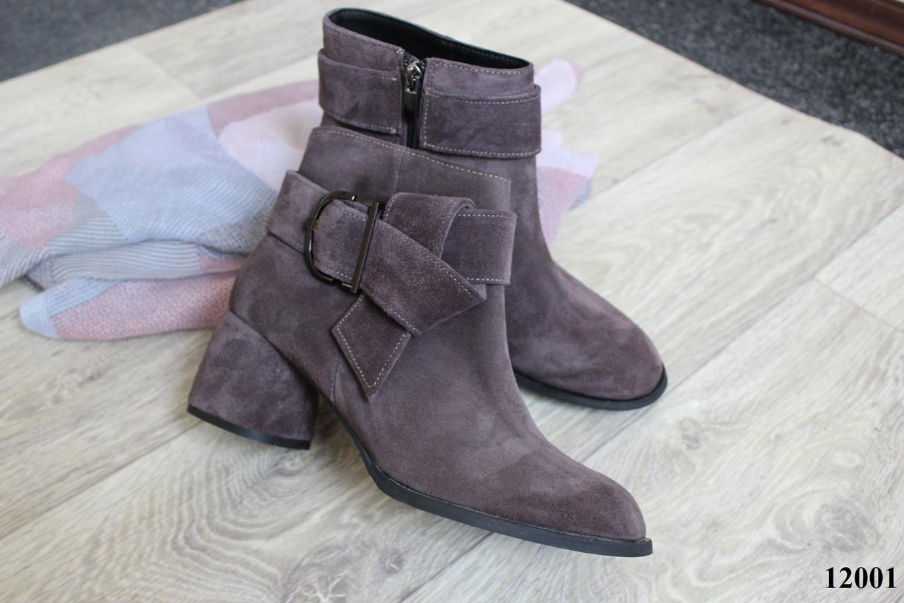 Женские ботинки из натуральной замши на невысоком каблуке, 12001