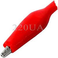 Зажим тестерный малый (44 мм) красный