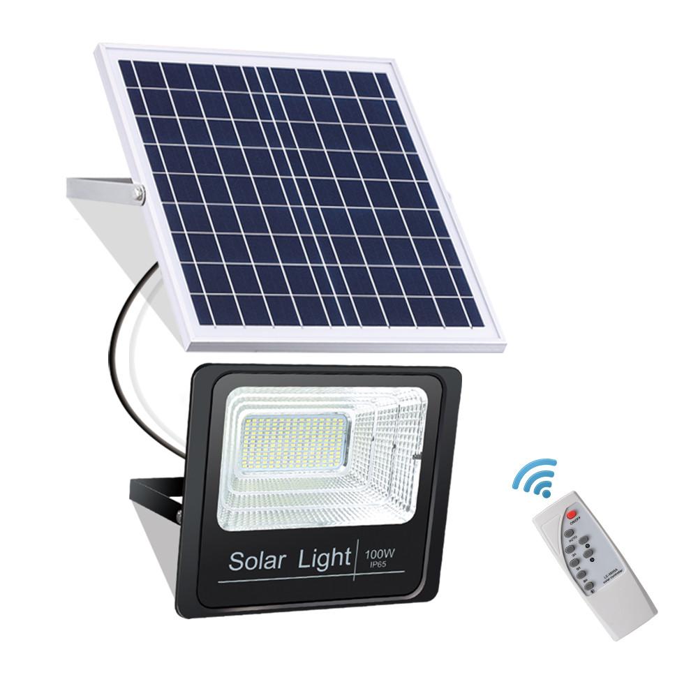 Светодиодный прожектор 25W на солнечной батарее с пультом. Фонарь солнечный.