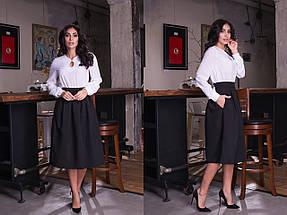 """Офисная женская миди-юбка """"RION"""" со складками и карманами (10 цветов), фото 2"""