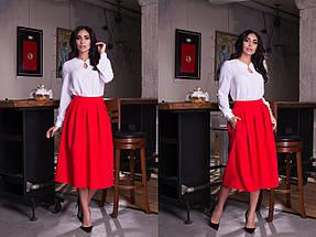 """Офисная женская миди-юбка """"RION"""" со складками и карманами (10 цветов), фото 3"""