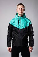 Ветровка курточка весенняя/осенняя мужская, цвет черно-бирюзовый, фото 1