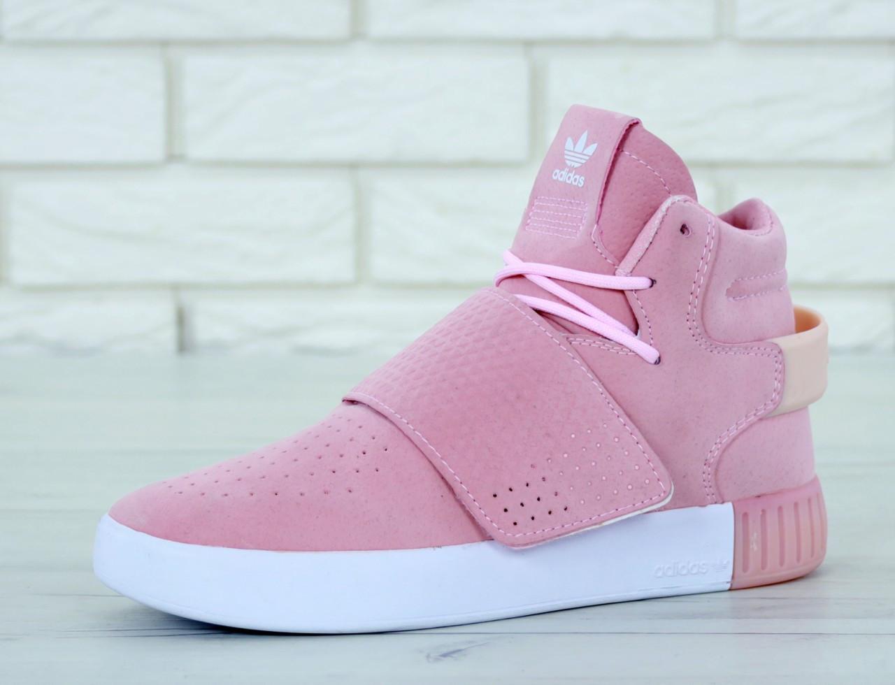 8f36ba960 Кроссовки женские замшевые высокие розовые весенние Adidas Tubular Адидас  Тубулар