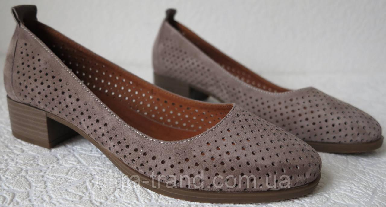 Nona женские удобные кожаные  туфли перфорация на маленьком каблуке! Для лета и весны.