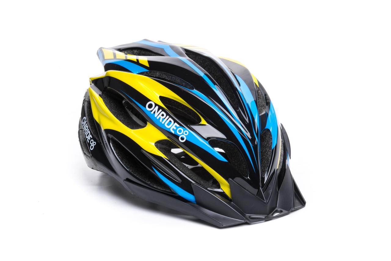 Шлем велосипедный Onride Grip L black-yellow-blue