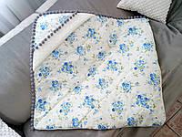 Детский плед-конверт стёганный с капюшоном на выписку, в коляску, в кроватку с цветочным принтом