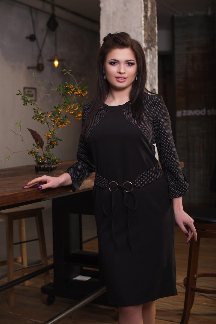 """Офисное платье-футляр """"NOVITA"""" с имитацией жакета в горошек (большие размеры)"""