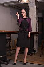 """Офисное платье-футляр """"NOVITA"""" с имитацией жакета в горошек (большие размеры), фото 3"""