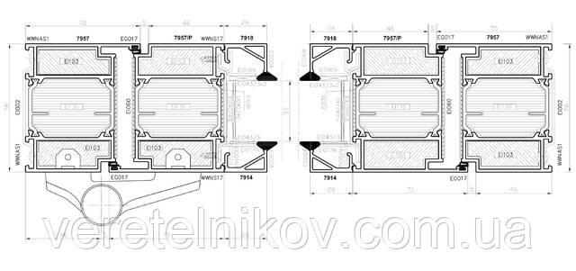 Алюминиевые противопожарные перегородки и двери Ponzio PE 78 EI