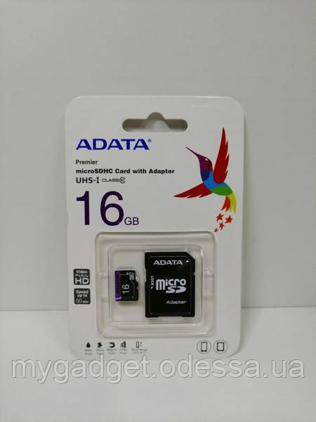 Карта памяти ADATA microSDHC 16GB Class 10 c адаптером