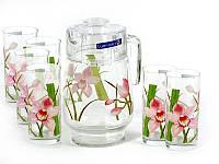 Набор для напитков Luminarc Red Orchis 7пр. (Кувшин 1,8л и 6 стаканов 270 мл)