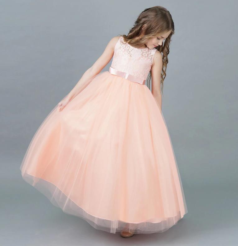 Платье персиковое бальное выпускное длинное нарядное для девочки в садик или школу