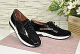 Спортивные женские туфли кожаные с лаковыми вставками от производителя., фото 3