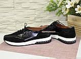 Спортивные женские туфли кожаные с лаковыми вставками от производителя., фото 4