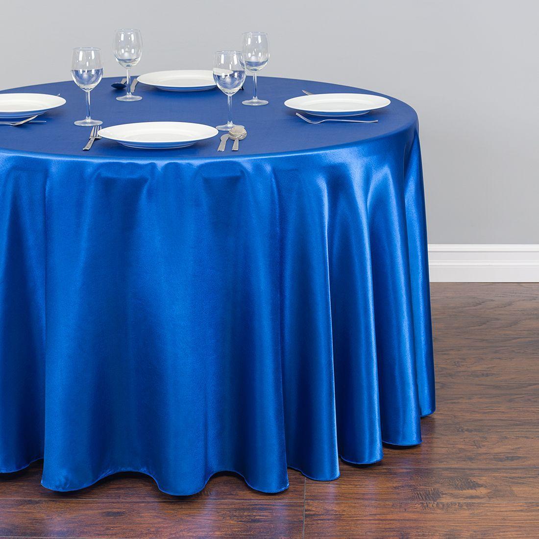 Скатерть круглая атласная ярко синяя Atteks 280 см - 1405