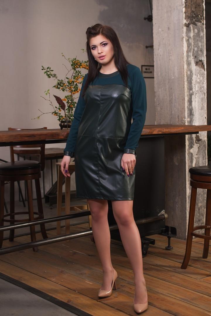"""Комбинированное платье-футляр """"LIDUA"""" с длинным рукавом (большие размеры)"""