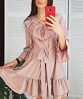 Женское платье  с рюшами , размер 42-46 , цвет пыльная роза