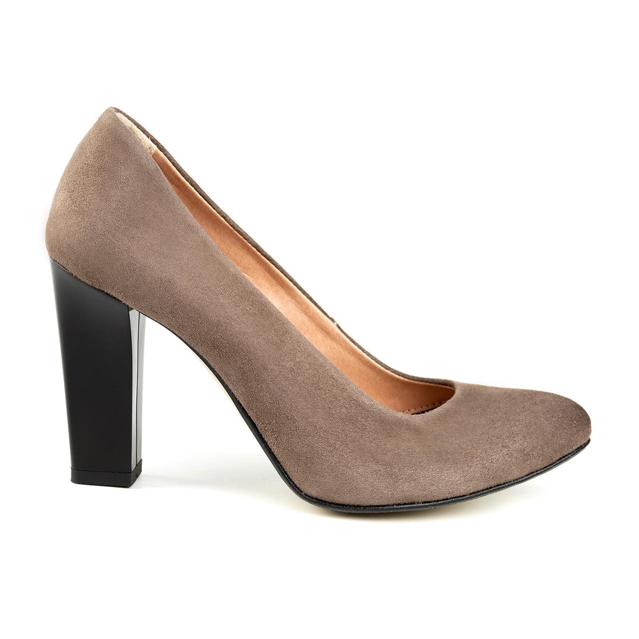 Туфли на каблуке серый (О-788)