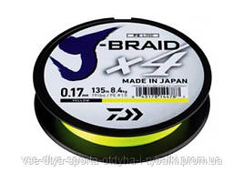 Шнур Daiwa J-Braid X4E 0,07mm 135m Yellow