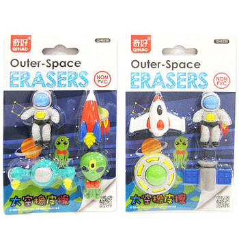 Ластик-резинка 3D Eraser набор 4шт Outer-Space микс №8338
