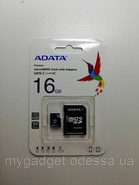 SD карта ADATA microSDHC 16GB Class 10 c адаптером