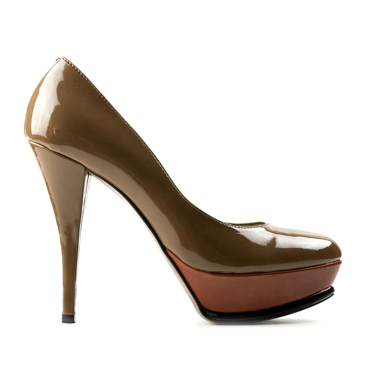 Туфли на каблуке бежевый (О-522)