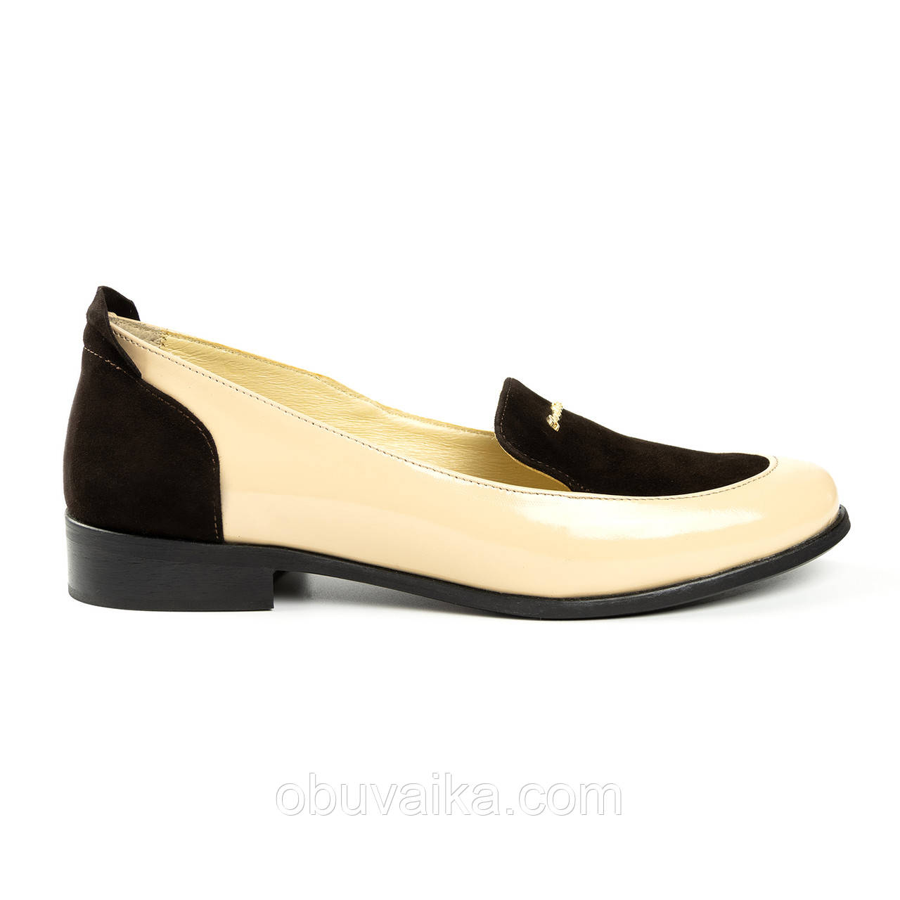 Женские туфли лоферы Woman's heel бежевые кожаные со вставками из замши