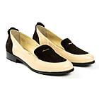 Женские туфли лоферы Woman's heel бежевые кожаные со вставками из замши, фото 2