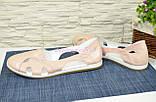 Балетки кожаные женские на низкой подошве, цвет пудра, фото 3