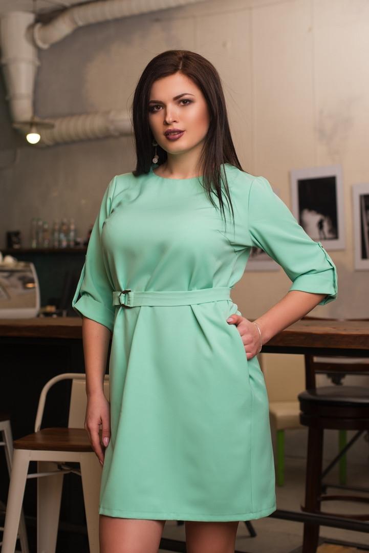"""Короткое платье прямого кроя """"LIORA"""" с поясом и карманами (большие размеры)"""