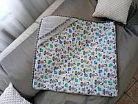 Распродажа  Детский плед-конверт с капюшоном, стёганный для мальчика , в коляску, в кроватку с принтом