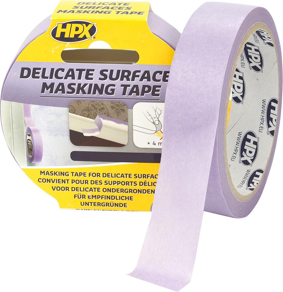 Маскувальна стрічка (скотч) для делікатних поверхонь і чітких контурів Безпечне зняття 19 мм х 25 м. HPX