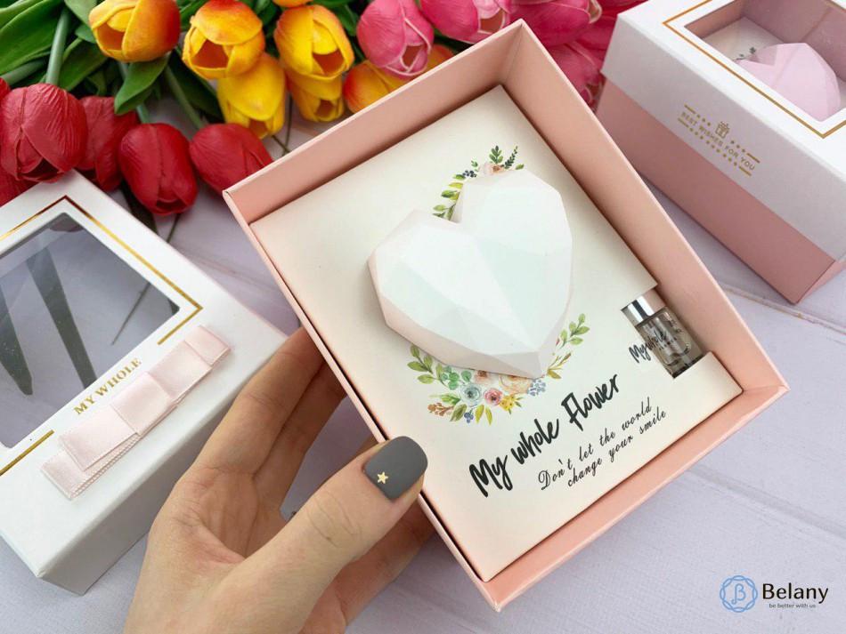 """Подарочный набор """"HEART"""" ароматизатор с цветочным ароматом белое сердце"""