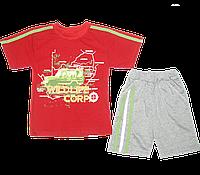 Детский летний костюмчик  р. 86: футболка рукавом и шортики, тонкий хлопок; ТМ Финтекс, Украина Красный