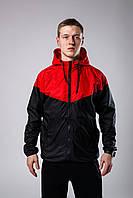Ветровка курточка весенняя/осенняя мужская, цвет черно-красный, фото 1