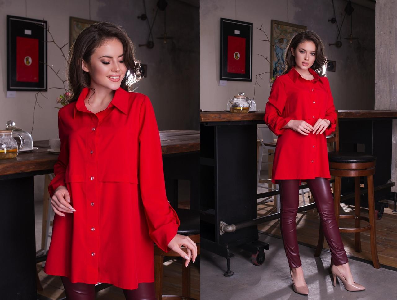 """Асимметричная женская рубашка-туника """"BINGO"""" с длинным рукавом (8 цветов)"""