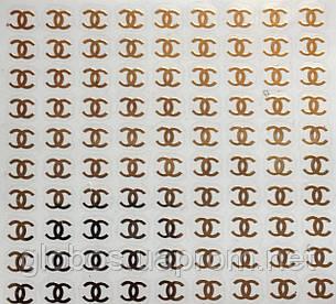 """Наклейка на ногти металлизированная золотая   2D  """"GLOBOS"""" логотип  IGK17G, фото 2"""