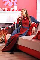 Платье женское макси декорирована двумя разцветками ткани