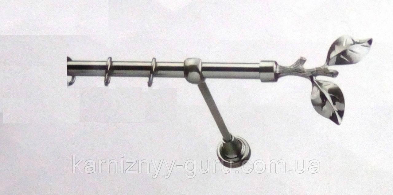 Карниз для штор ø 16 мм, одинарный, наконечник Лист розы
