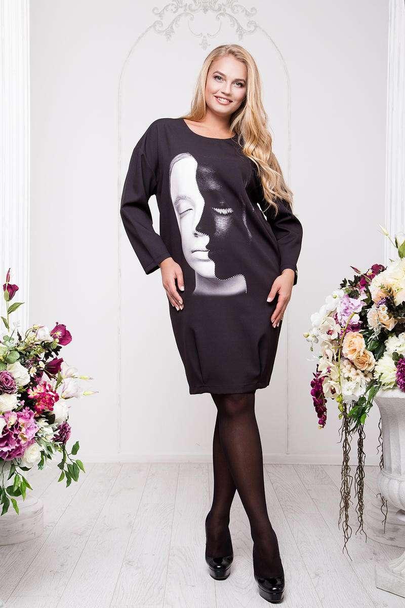 0f57c7e634eadea Черное трикотажное платье с оригинальным принтом, Арт. А9 - Интернет-магазин  одежды ТОПШОП