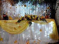 Оформление свадьбы, драпировка тканью, флористика