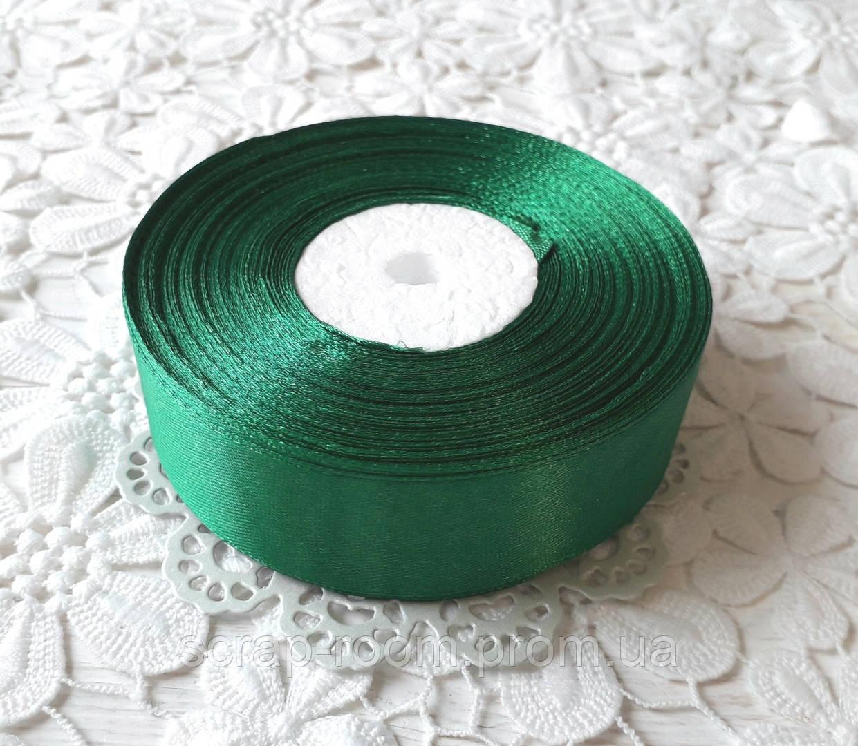 Лента атласная 2,5 см зелёная, лента цвет зеленый атласная, лента атласная зеленая, цена за метр