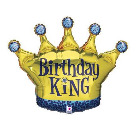 Фол шар фигура Корона золотая Birthday King (Грабо), фото 2