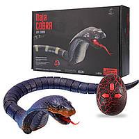 Змея на радиоуправлении кобра 45 см, шевелит языком, реалист внешний вид. Пульт змеиное яйцо 8808