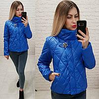 Куртка стеганая стойка воротник с декоративной застежкой